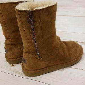 UGG mayfair zipper boots, chestnut, size US5